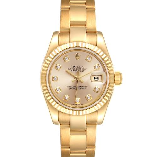 Photo of Rolex President Datejust Yellow Gold Diamond Ladies Watch 179178
