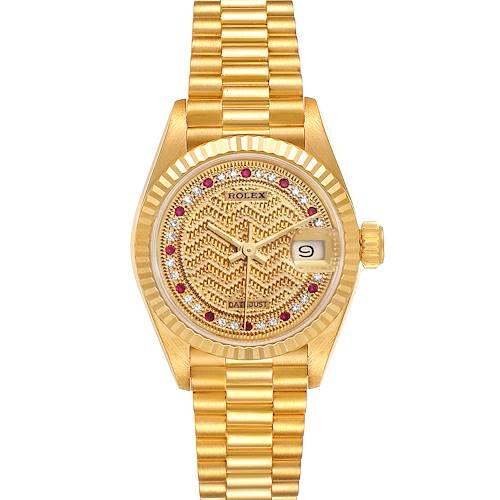 Photo of Rolex President Datejust Yellow Gold Diamond Rubies Ladies Watch 69178 Box