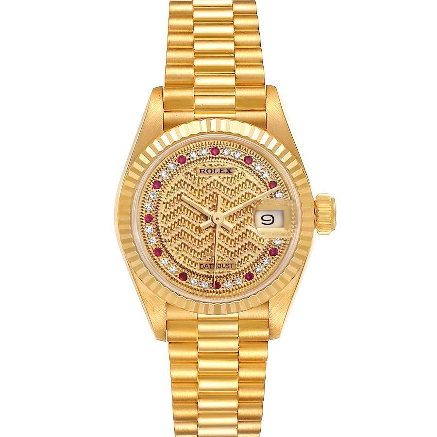 Rolex President Datejust Yellow Gold Diamond Rubies Ladies Watch 69178 Box SwissWatchExpo