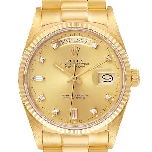 Photo of Rolex President Day-Date 18k Yellow Gold Diamond Mens Watch 18038