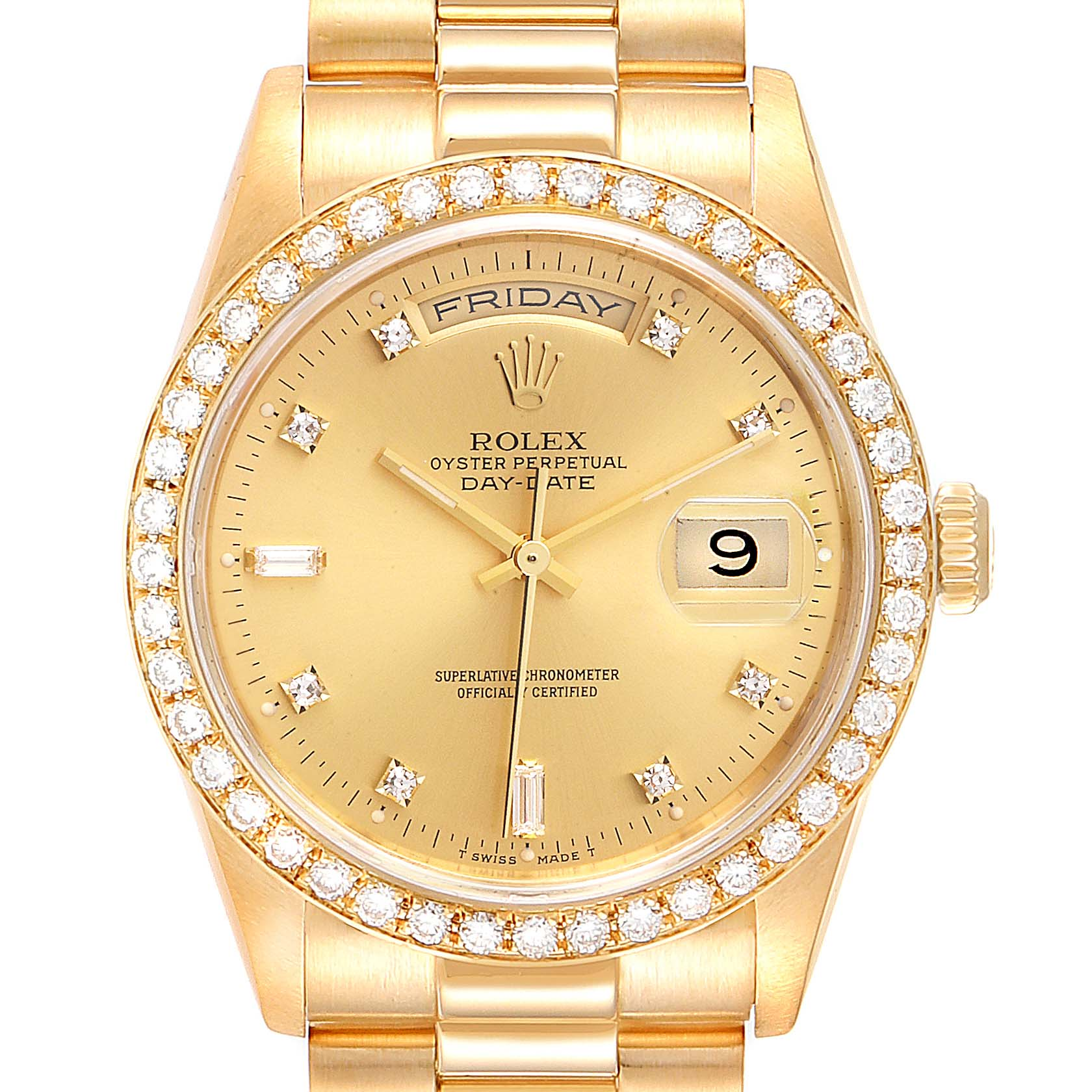 Rolex President Day Date Yellow Gold Diamond Dial Bezel Mens Watch 18348