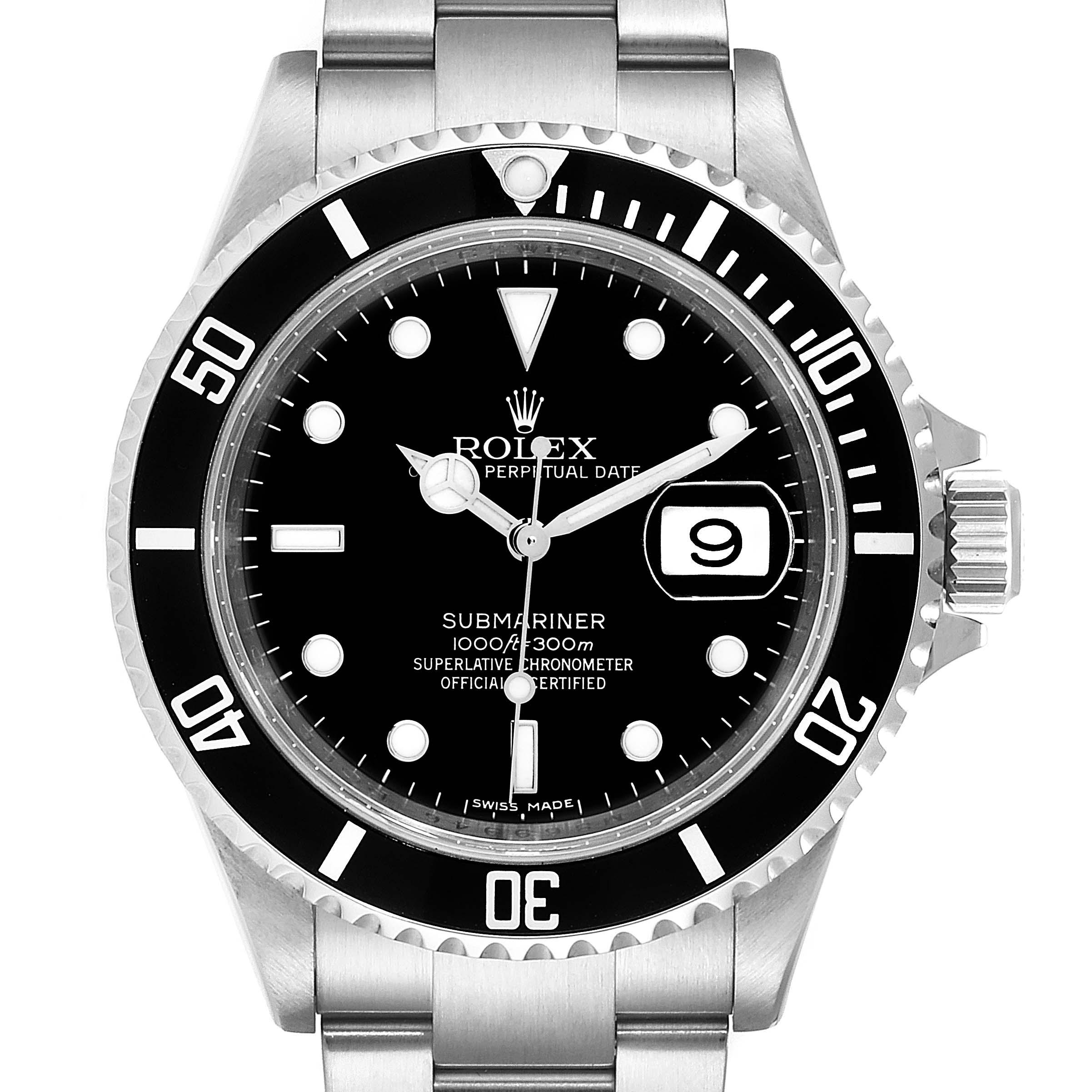 Rolex Submariner Date 40mm Stainless Steel Mens Watch 16610 Box Card