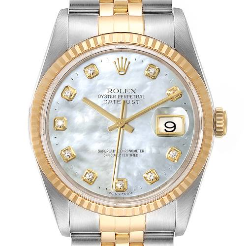 Photo of Rolex Datejust Steel Yellow Gold MOP Diamond Mens Watch 16233 Box Papers