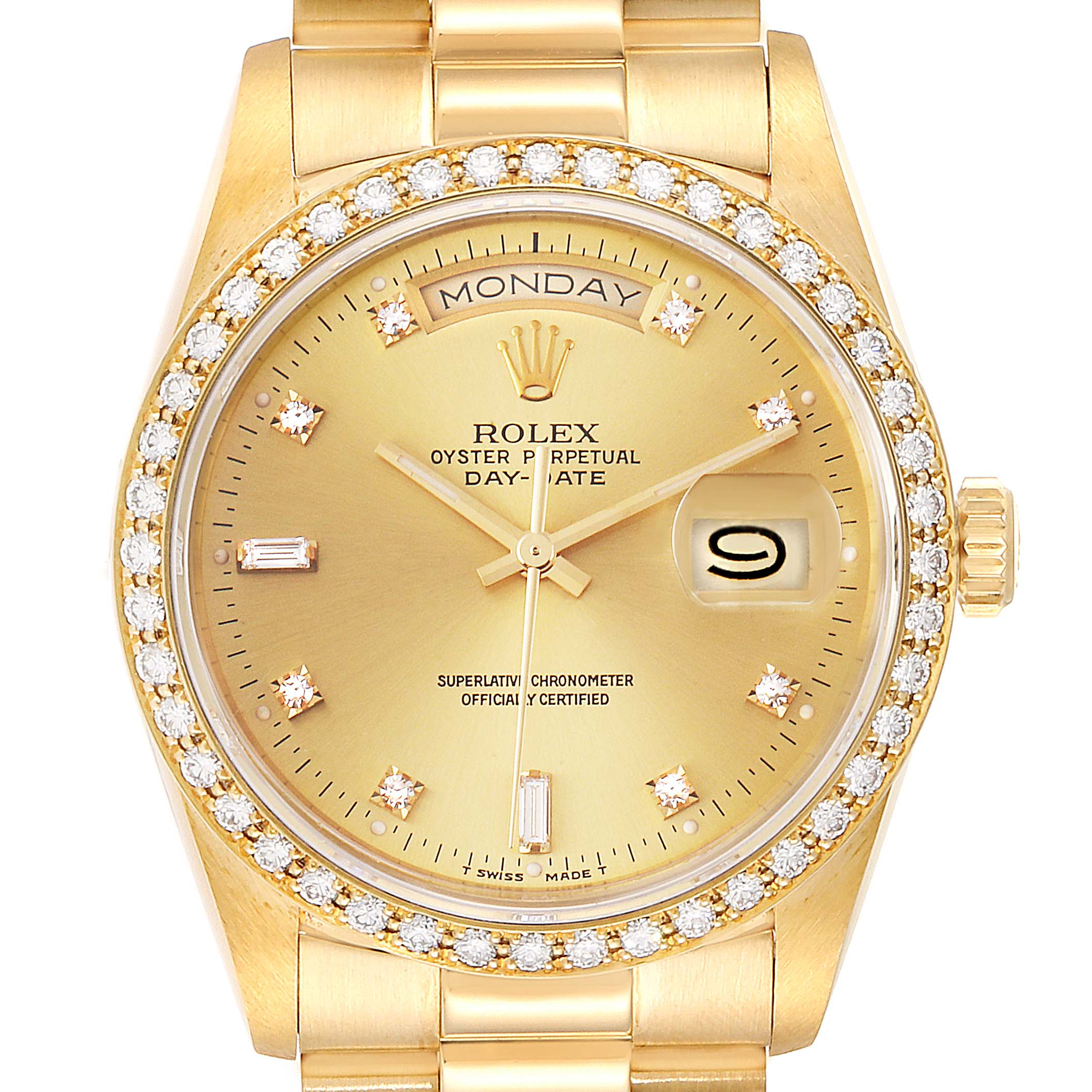 Rolex President Day Date 36mm Yellow Gold Diamond Mens Watch 18348