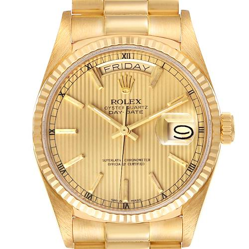 Photo of Rolex President Day-Date 36mm Yellow Gold Tapestry Dial Mens Watch 18038 - ADD 4 LINKS