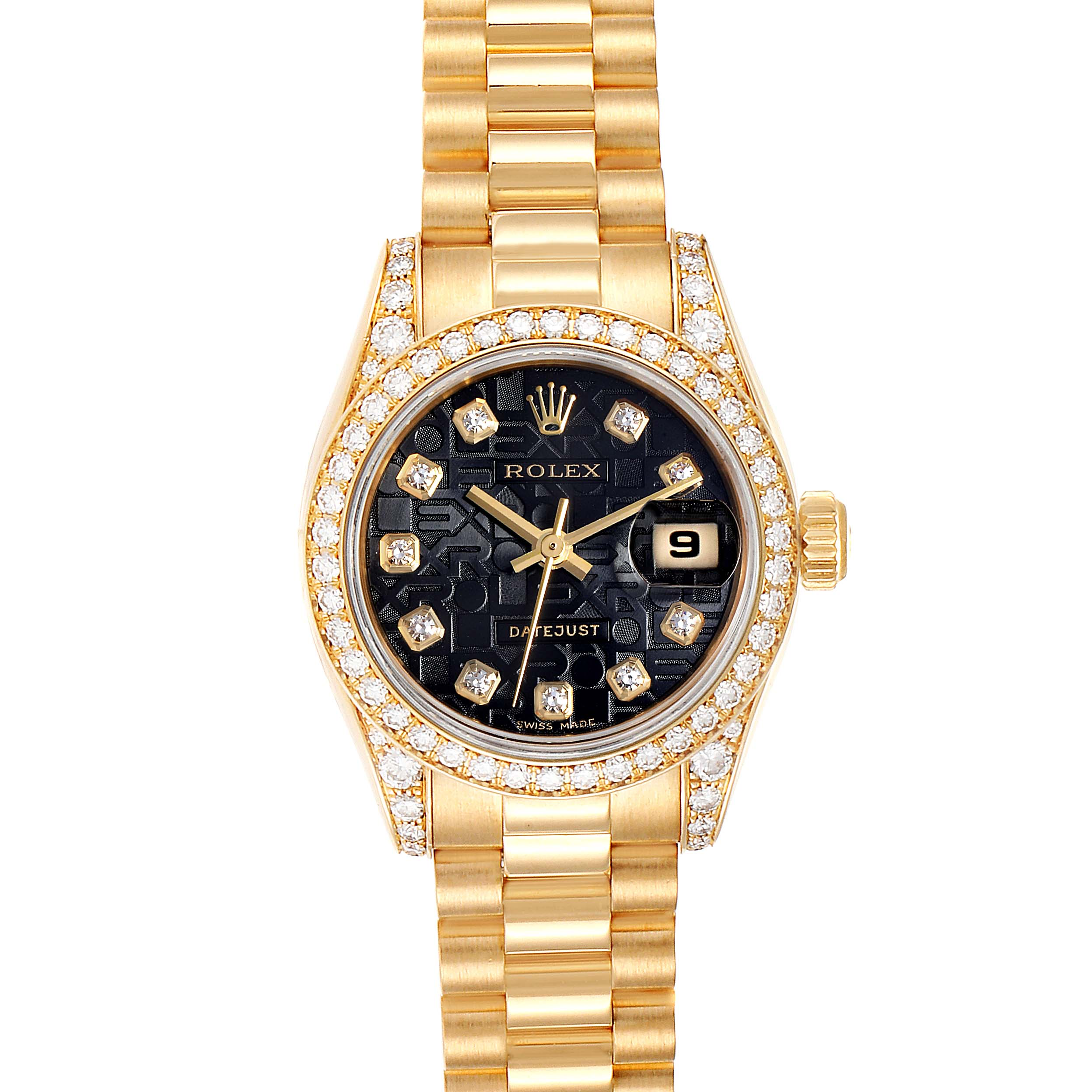 Rolex President Yellow Gold Diamond Dial Bezel Lugs Ladies Watch 179158