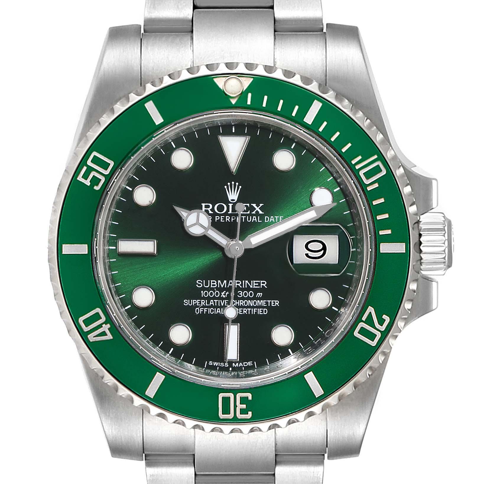 Rolex Submariner Hulk Green Dial Bezel Mens Watch 116610LV Box Card
