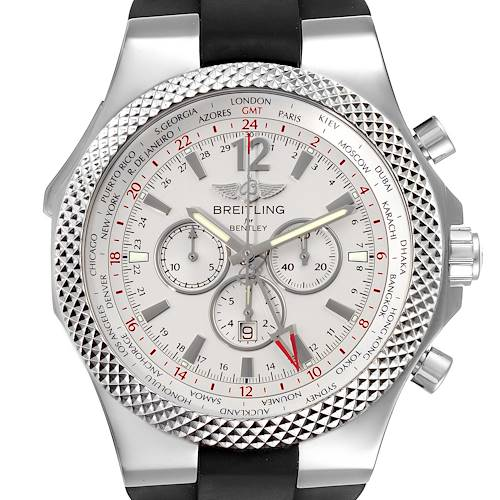 Photo of Breitling Bentley GMT Silver Dial Black Strap Steel Mens Watch A47362