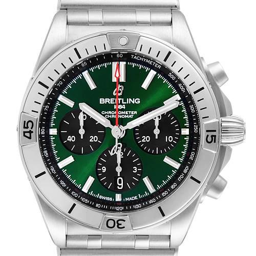 Photo of Breitling Chronomat B01 Green Dial Steel Mens Watch AB0134 Box Card