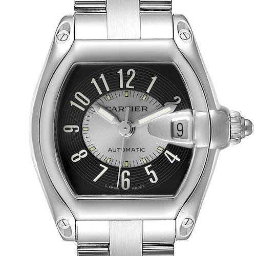 Photo of Cartier Roadster Gray Silver Tuxedo Dial Steel Mens Watch W62001V3