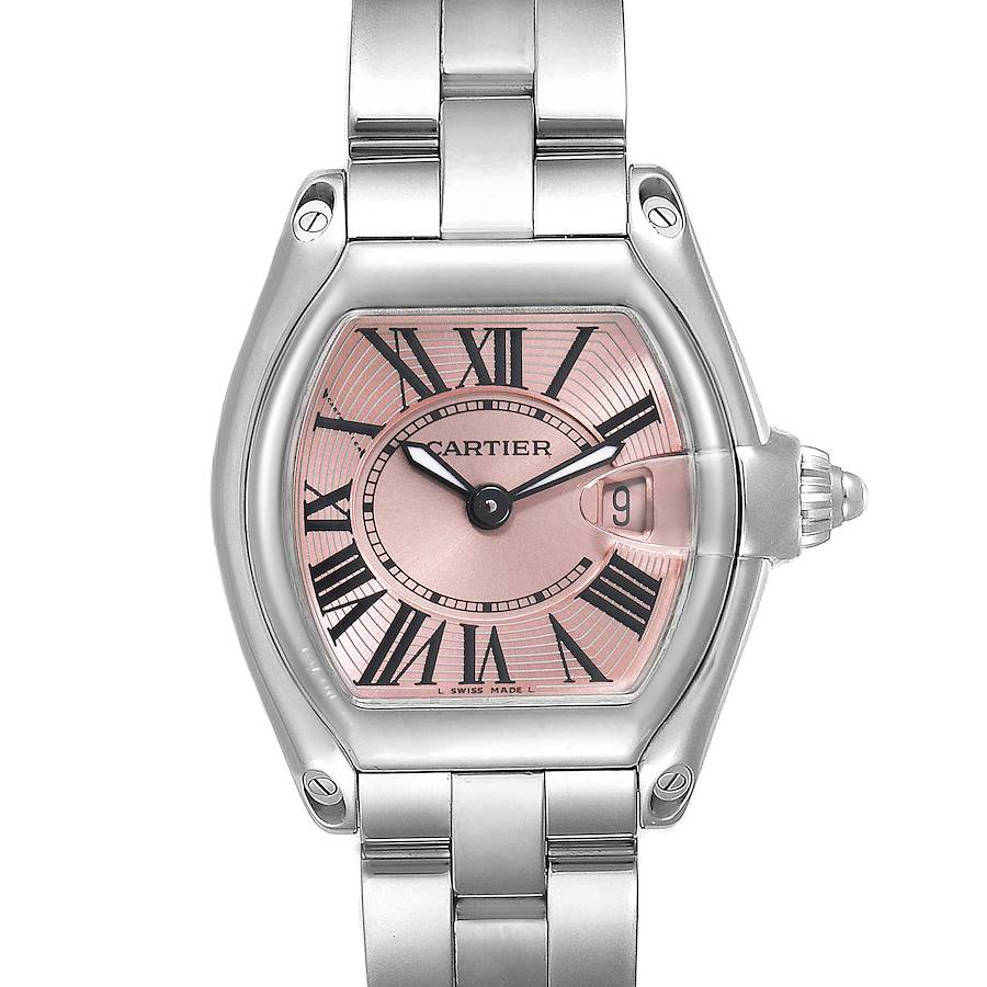 Cartier Roadster Pink Dial Stainless Steel Ladies Watch W62017V3 Box Papers SwissWatchExpo