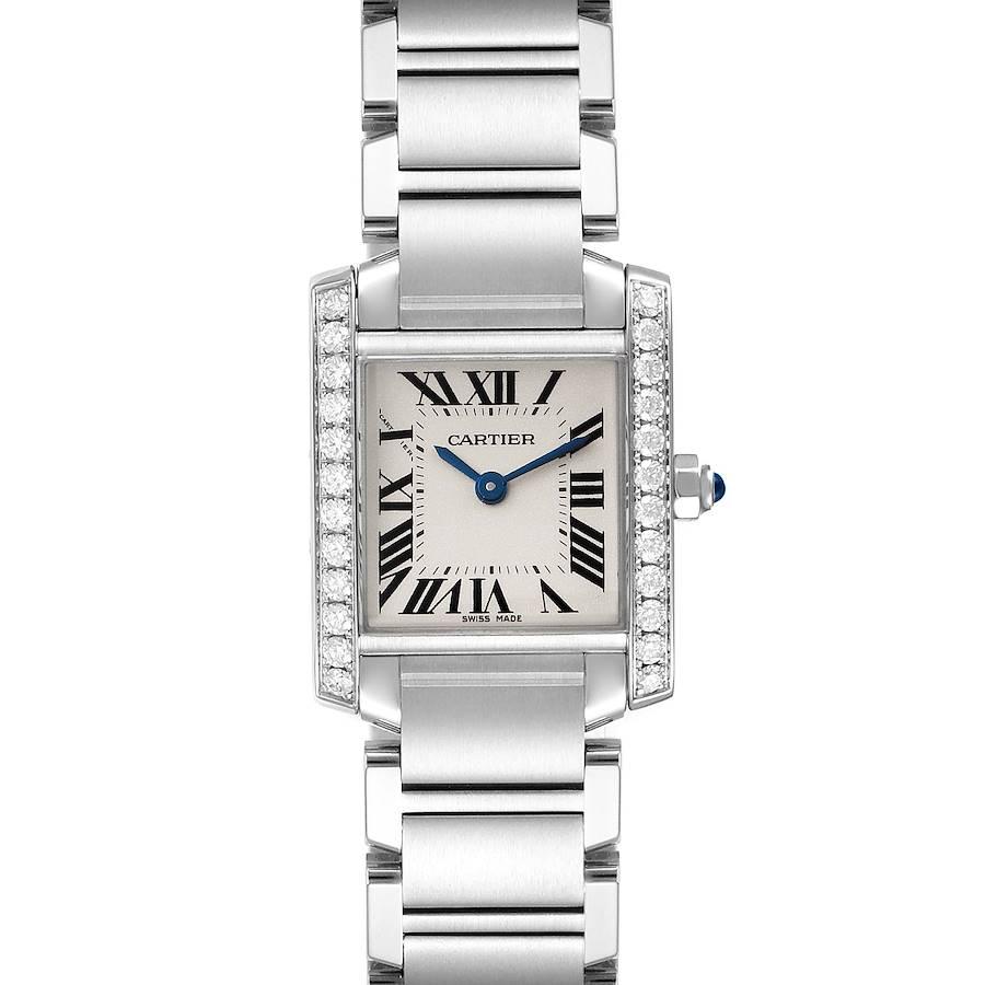 Cartier Tank Francaise Steel Diamond Ladies Watch W4TA0008 Box Papers SwissWatchExpo