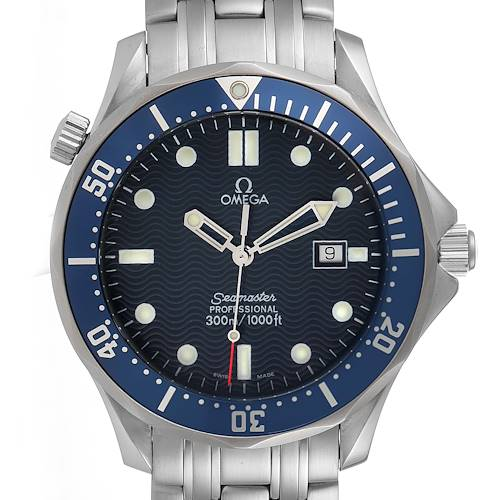 Photo of Omega Seamaster 41mm James Bond Blue Dial Steel Watch 2541.80.00 Card