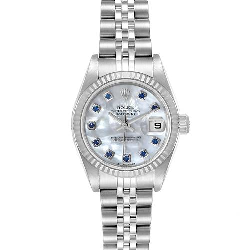 Photo of Rolex Datejust Steel White Gold MOP Saphire Ladies Watch 79174 Box Papers