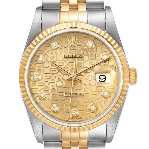 Photo of Rolex Datejust Steel Yellow Gold Jubilee Diamond Dial Watch 16233 Box Card