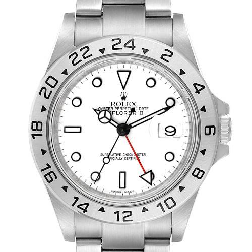 Photo of Rolex Explorer II 40mm White Dial Parachrom Hairspring Watch 16570 Box Card
