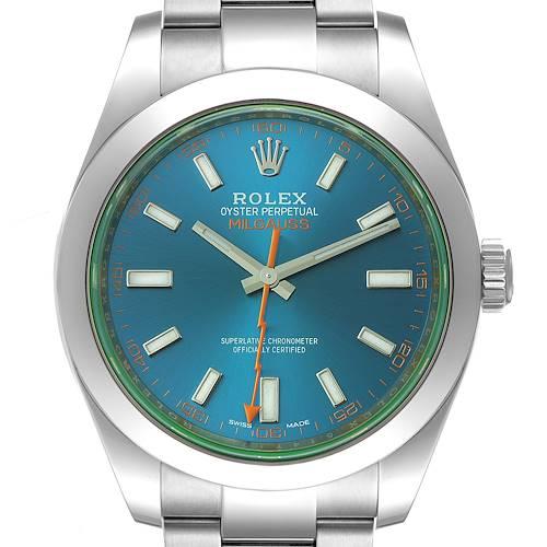 Photo of Rolex Milgauss Blue Dial Green Crystal Steel Mens Watch 116400GV Unworn