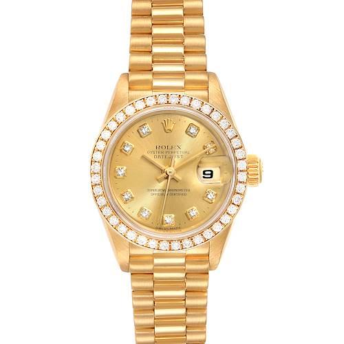 Photo of Rolex President Datejust Yellow Gold Diamond Ladies Watch 79138 Box Papers
