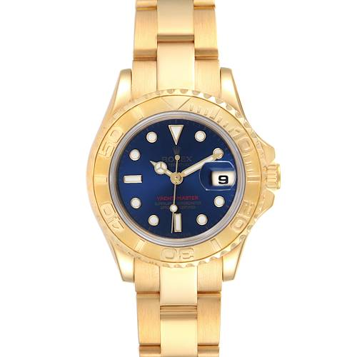 Photo of Rolex Yachtmaster 29 Yellow Gold Blue Dial Ladies Watch 69628 Box Papers