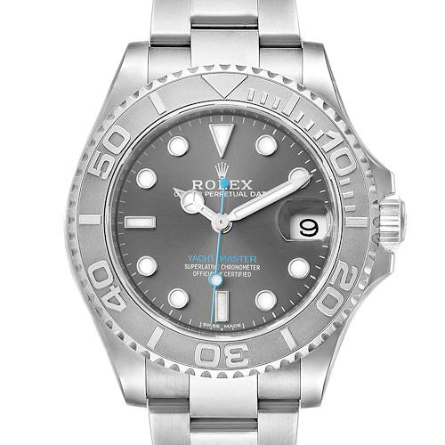 Photo of Rolex Yachtmaster 37 Midsize Steel Platinum Mens Watch 268622 Box Card