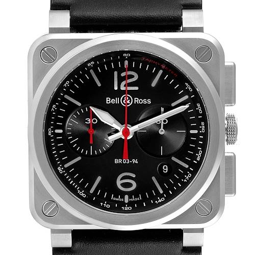 Photo of Bell & Ross Aviation Black Dial Chronograph Steel Mens Watch BR0394 Unworn