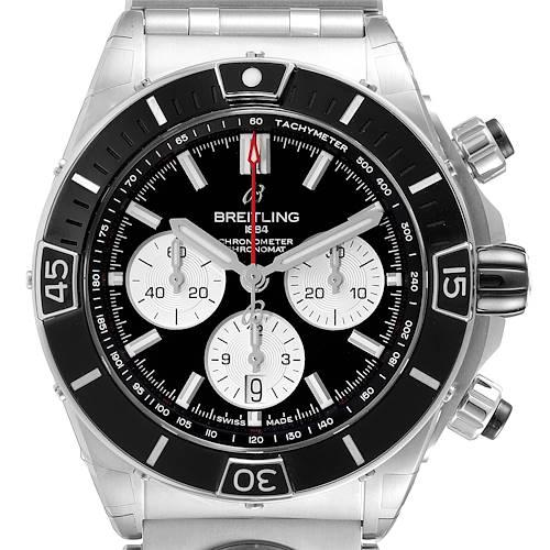Photo of Breitling Chronomat B01 Black Dial Steel Mens Watch AB0136 Unworn