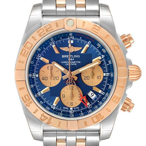 Photo of Breitling Chronomat Evolution 44 GMT Steel Rose Gold Watch CB0420 Box Papers