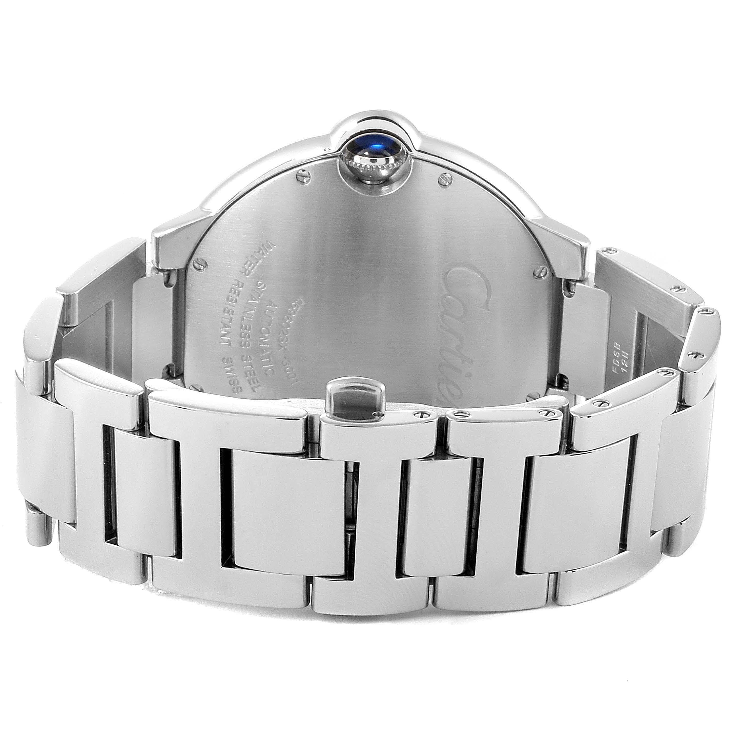 Cartier Ballon Bleu 42 Silvr Dial Automatic Steel Mens Watch W69012Z4 SwissWatchExpo