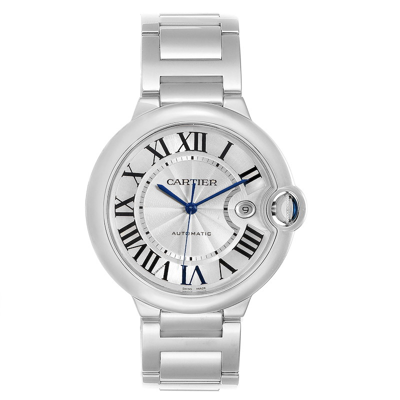 Cartier Ballon Bleu 42 Silvr Dial Automatic Steel Unisex Watch W69012Z4 SwissWatchExpo