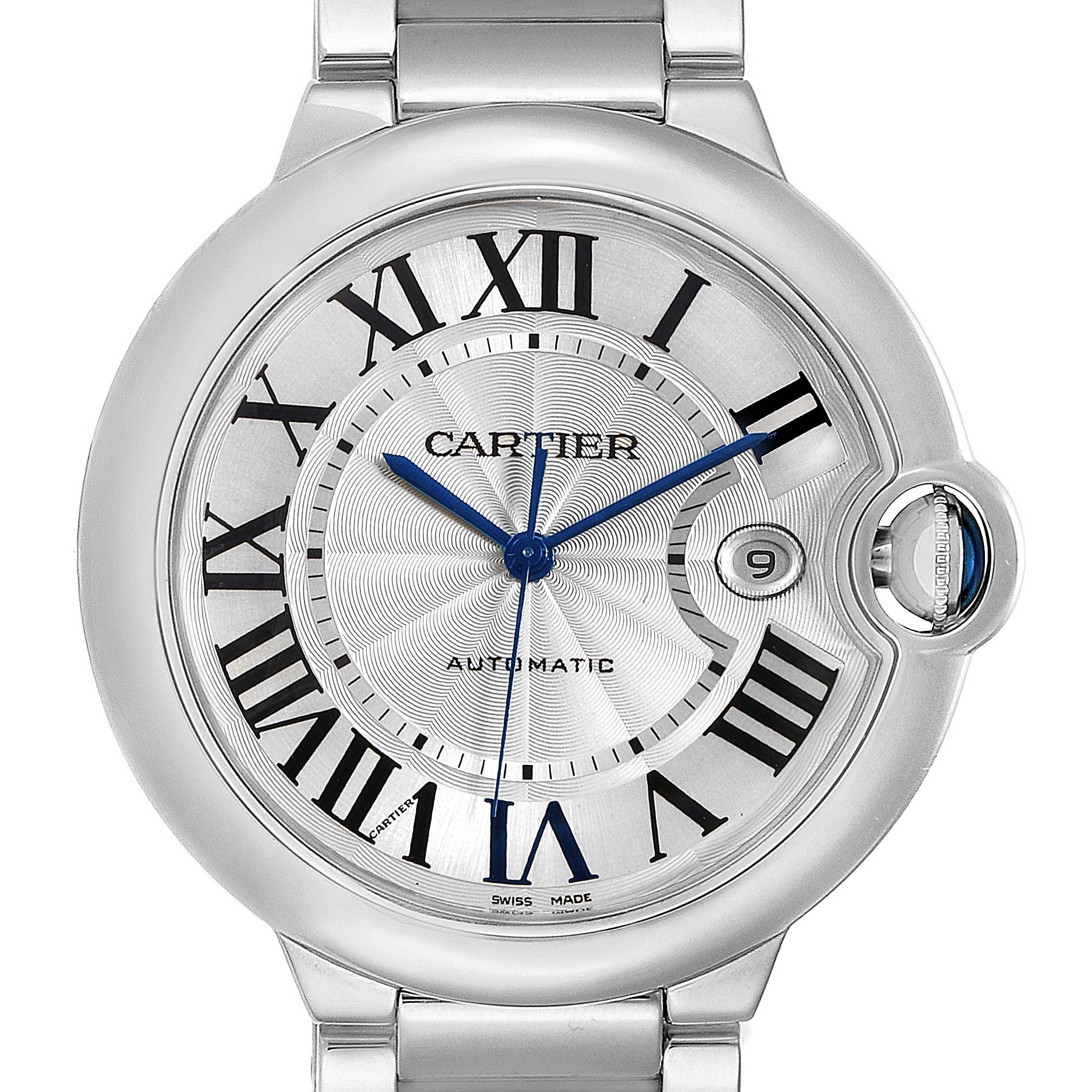 Cartier Ballon Bleu 42 Silvr Dial Automatic Steel Unisex Watch W69012Z4