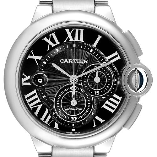 Photo of Cartier Ballon Bleu XL Black Dial Chronograph Steel Watch W6920077 Box Papers