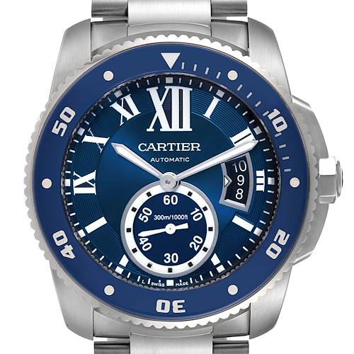 Photo of Cartier Calibre Diver Stainless Steel Blue Dial Mens Watch WSCA0011