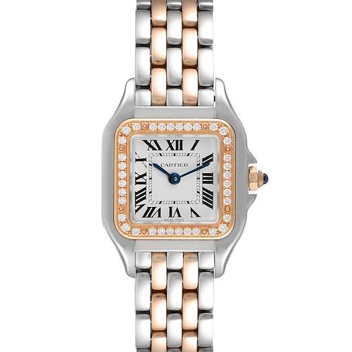 Photo of Cartier Panthere Ladies Steel Rose Gold Diamond Watch W3PN0006 Box Card