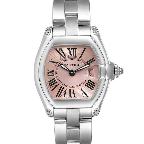 Photo of Cartier Roadster Pink Roman Dial Steel Ladies Watch W62017V3 Box Papers