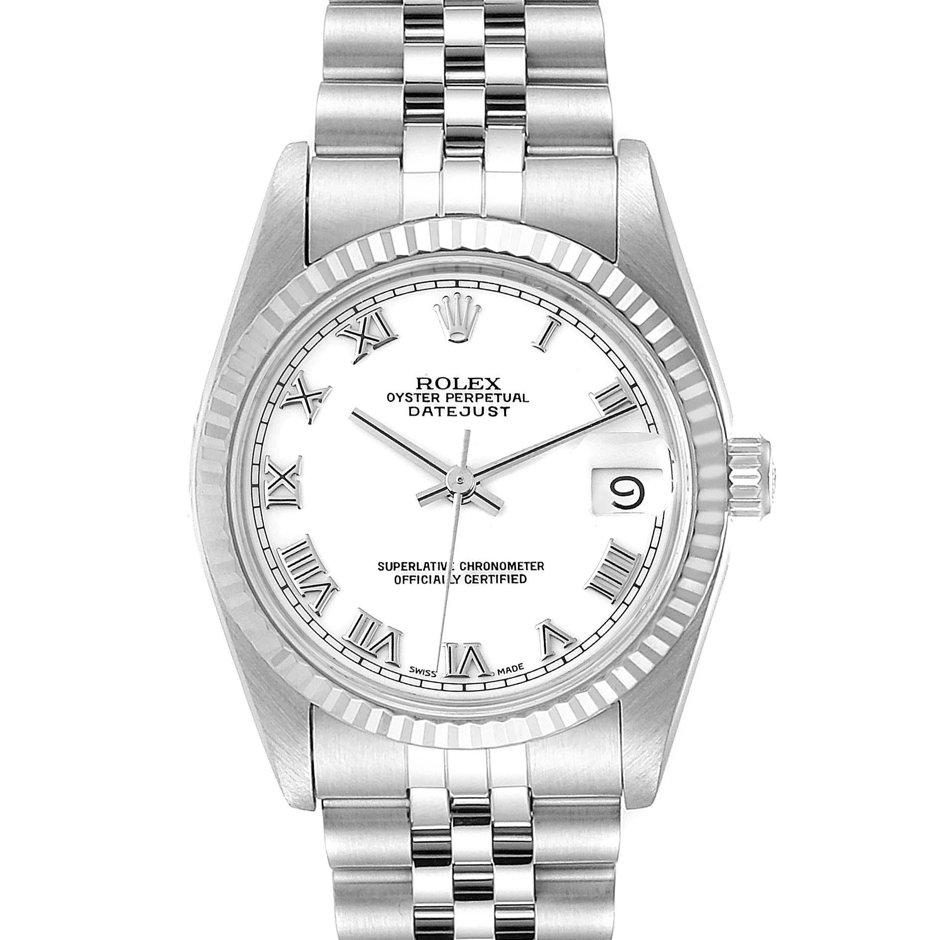 Rolex Datejust Midsize 31 Steel White Gold Ladies Watch 68274