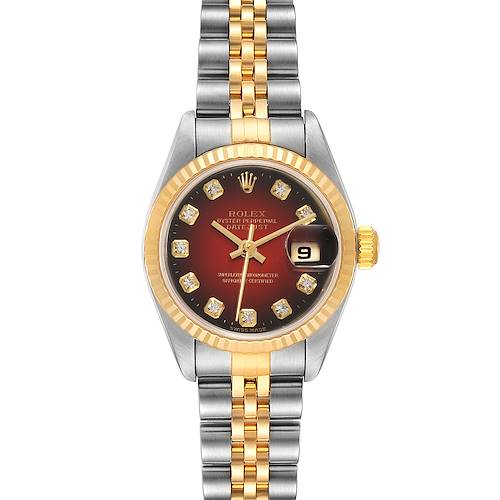 Photo of Rolex Datejust Steel Yellow Gold Red Vignette Diamond Watch 79173 Papers