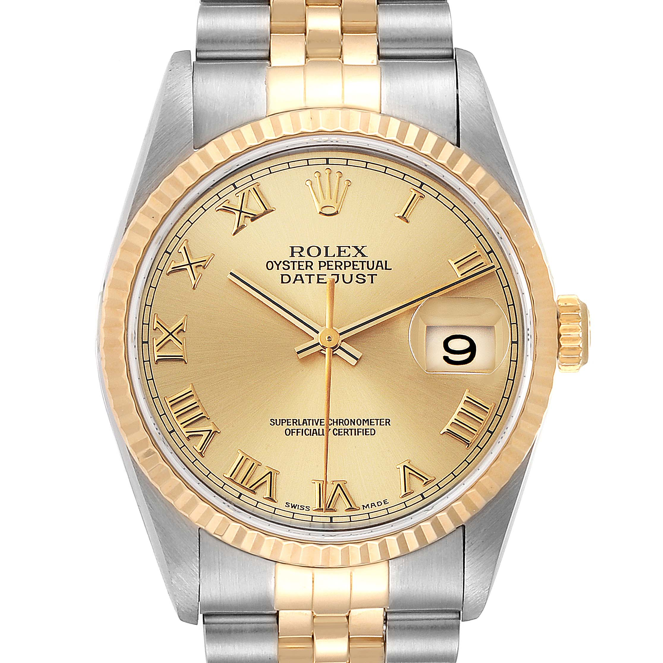Rolex Datejust Steel Yellow Gold Champagne Roman Dial Mens Watch 16233