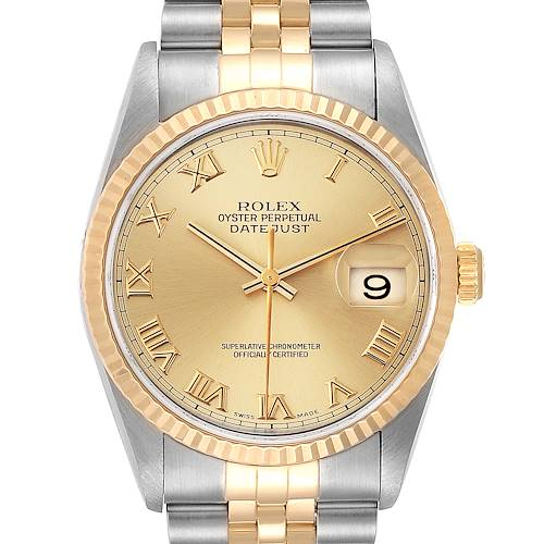 Photo of Rolex Datejust Steel Yellow Gold Champagne Roman Dial Mens Watch 16233