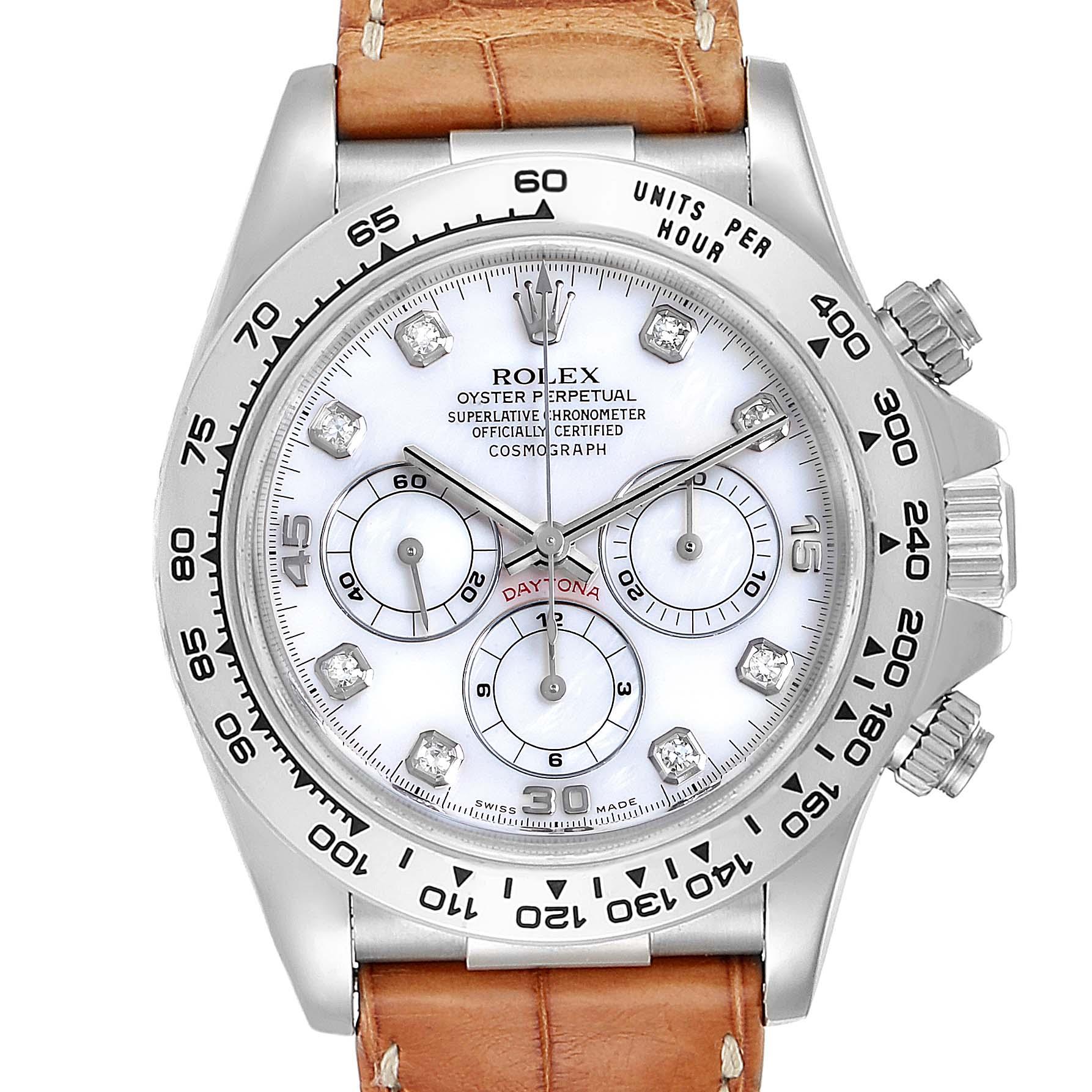 Rolex Daytona White Gold Mother of Pearl Diamond Mens Watch 16519