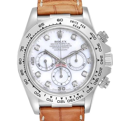 Photo of Rolex Daytona White Gold Mother of Pearl Diamond Mens Watch 16519