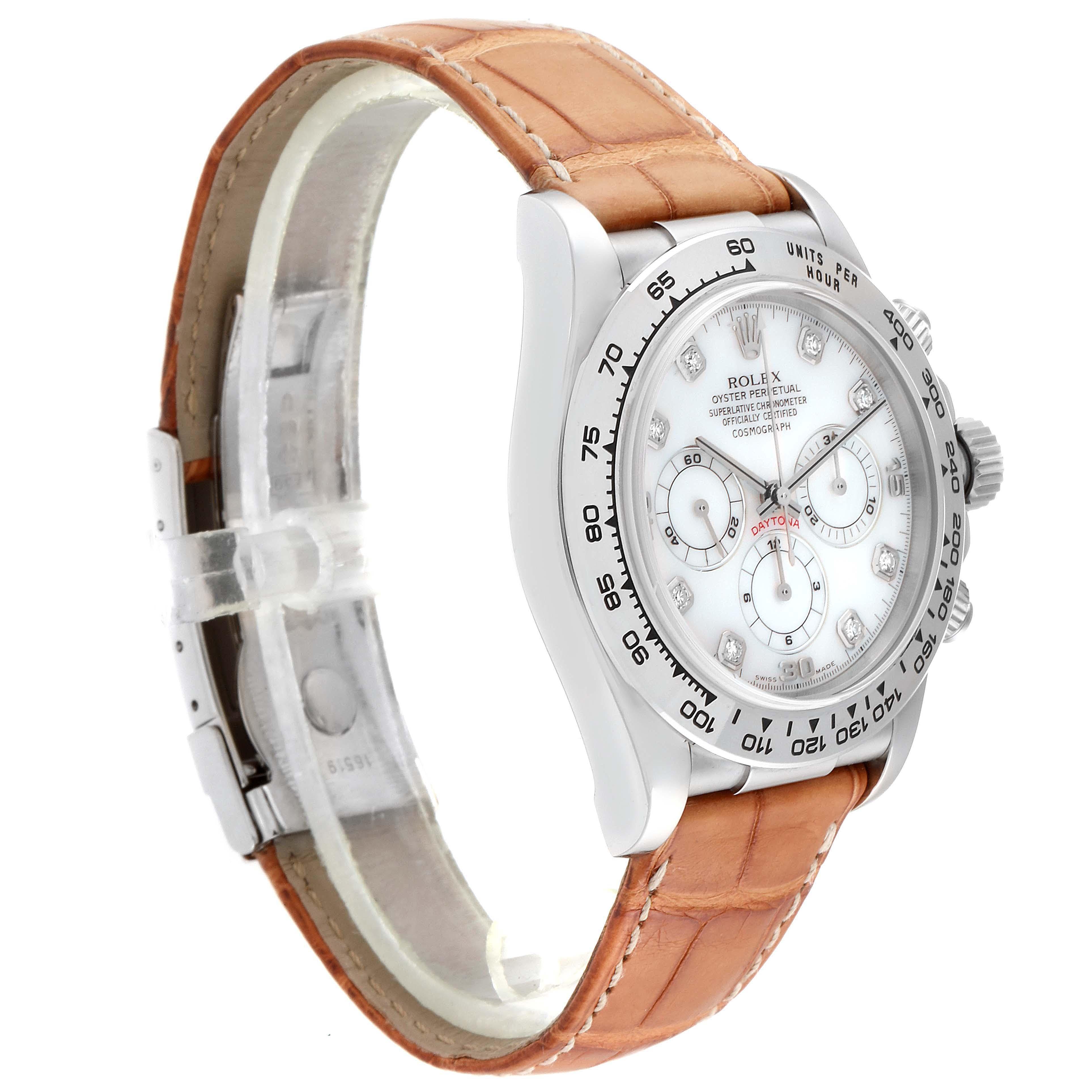 Rolex Daytona White Gold Mother of Pearl Diamond Mens Watch 16519 SwissWatchExpo