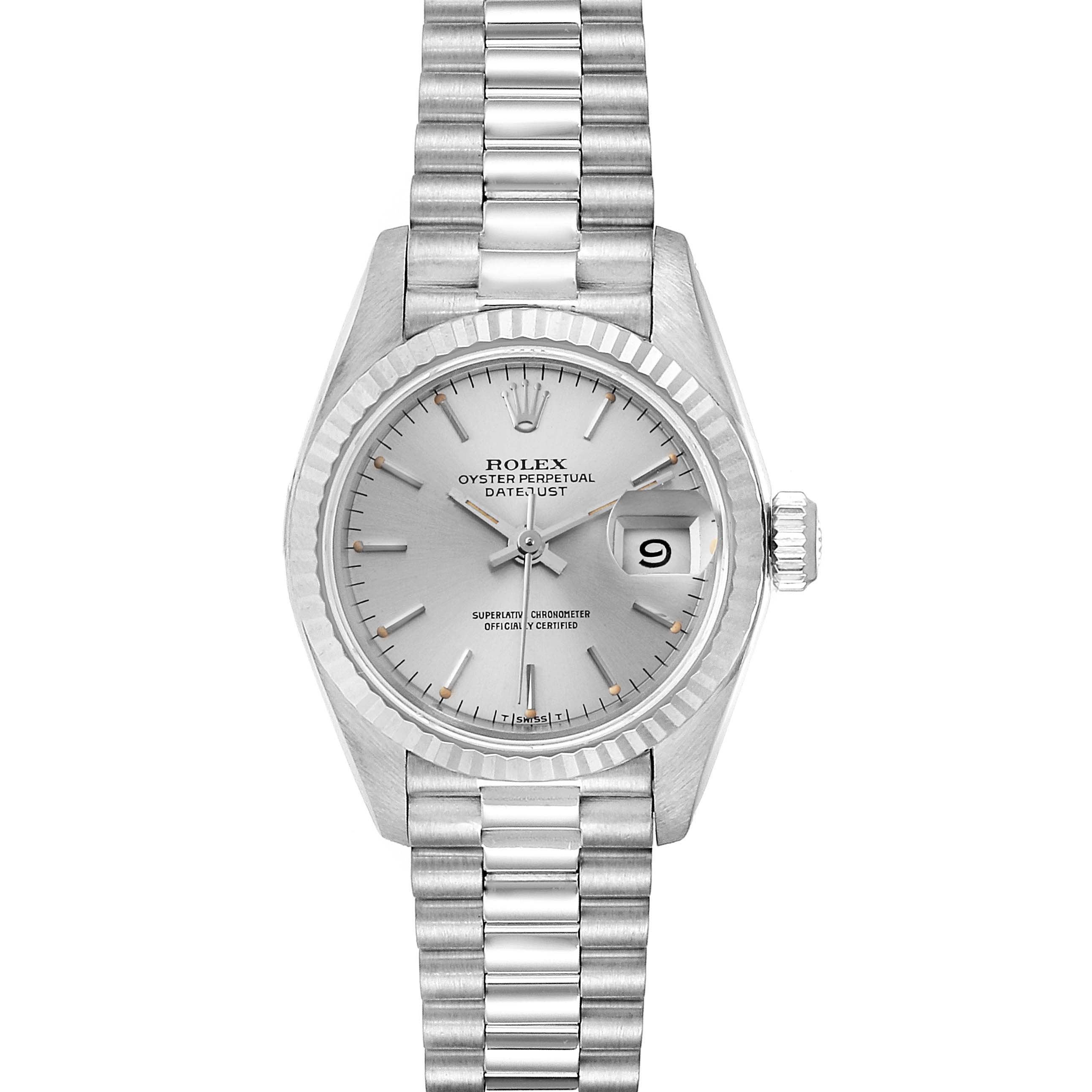 Rolex President Datejust 26 White Gold Silver Dial Ladies Watch 69179