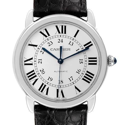 Photo of Cartier Ronde Solo Silver Dial Black Strap Automatic Mens Watch WSRN0021