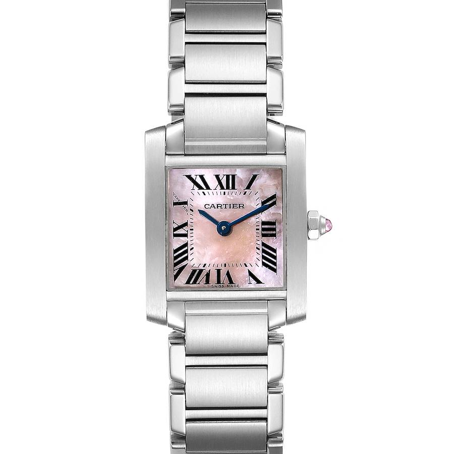 Cartier Tank Francaise Pink Mother of Pearl Steel Watch W51028Q3 SwissWatchExpo