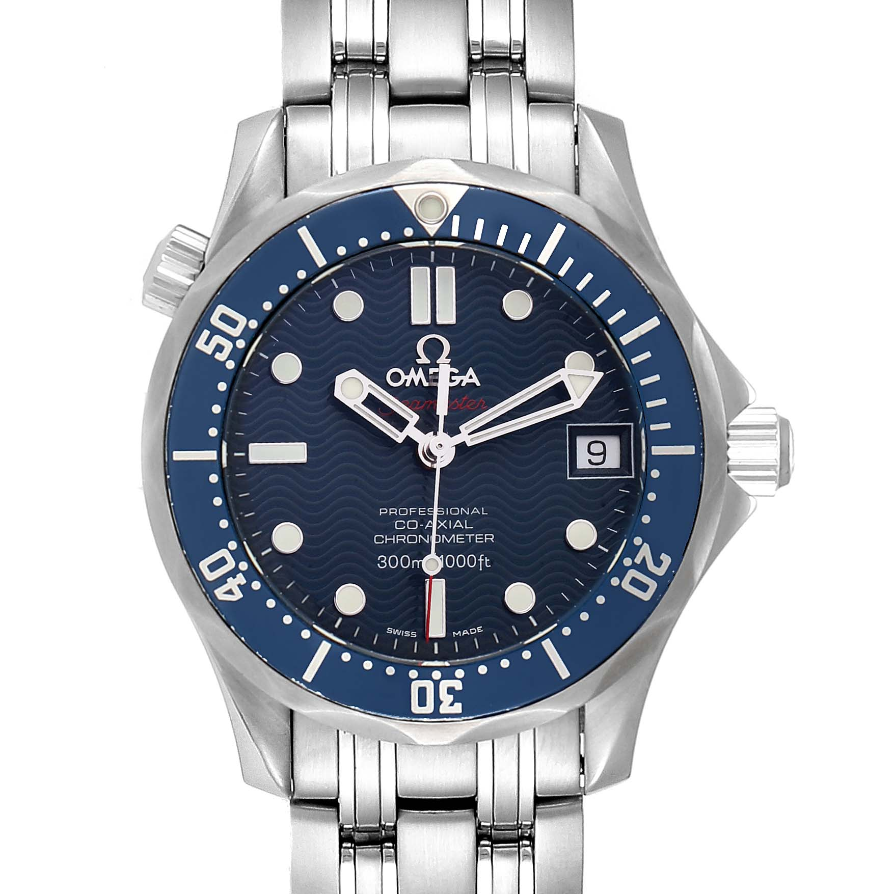 Omega Seamaster Midsize Co-Axial Blue Dial Watch 2222.80.00 Box Card