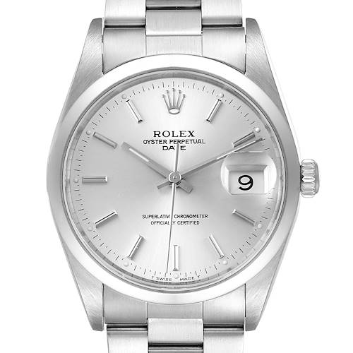 Photo of Rolex Date Silver Dial Oyster Bracelet Automatic Mens Watch 15200 Papers