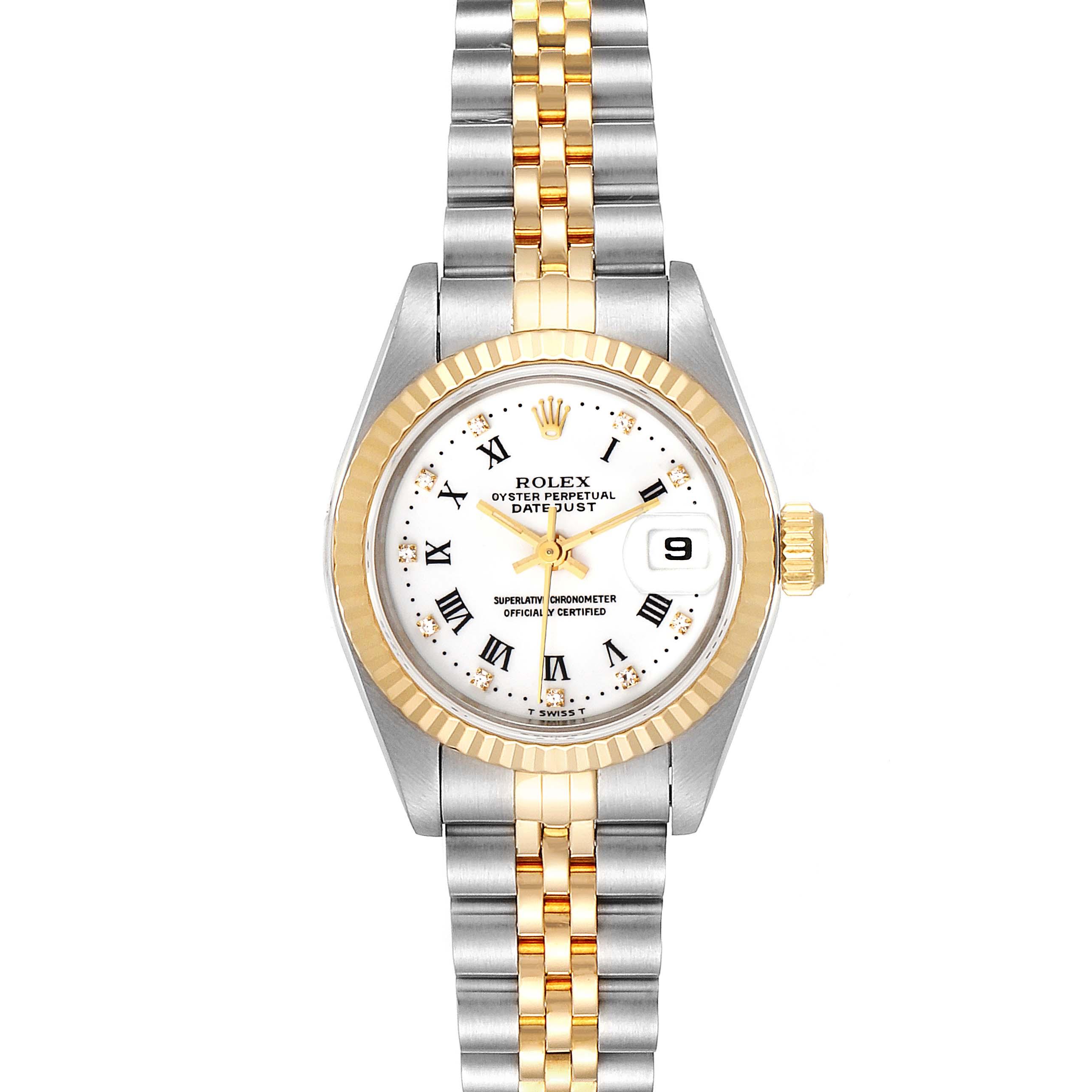 Rolex Datejust Steel Yellow Gold Roman Diamond Dial Ladies Watch 69173