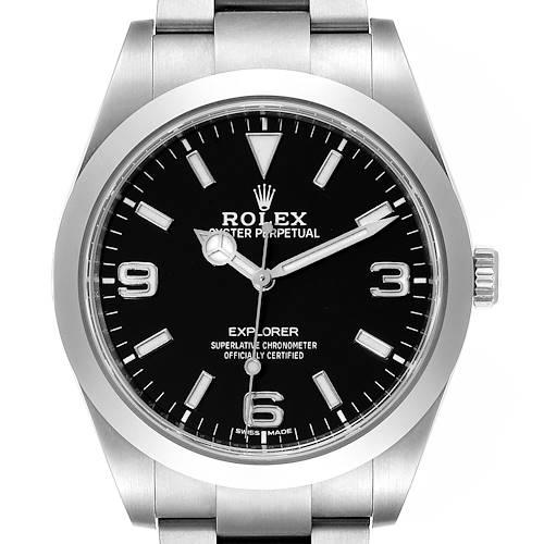 Photo of Rolex Explorer I Luminescent Arabic Numerals Mens Watch 214270 Box Card