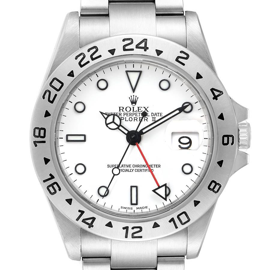 Rolex Explorer II 40mm White Dial Steel Mens Watch 16570 Box Papers SwissWatchExpo