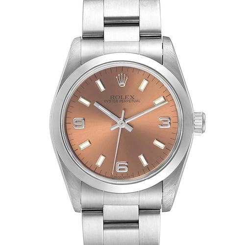 Photo of Rolex Midsize 31 Salmon Dial Oyster Bracelet Ladies Watch 67480 Papers